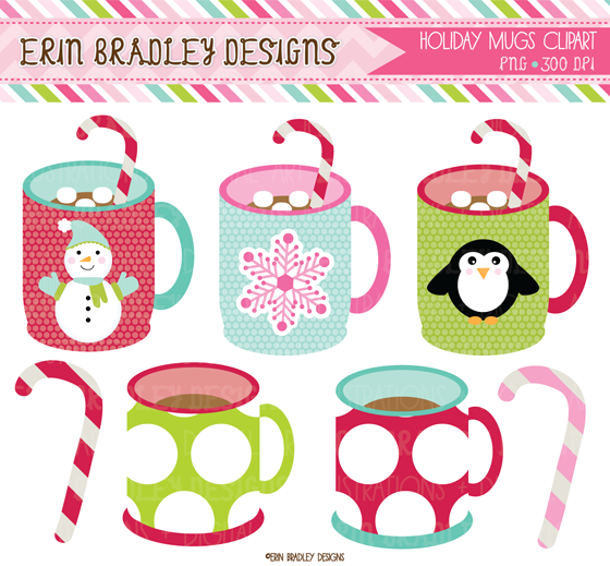 Erin Bradley Designs: Christmas Mugs Clipart & Digital Paper Pack.