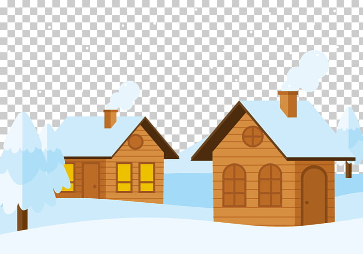 Snow Log cabin Cottage, A cabin in the snow PNG clipart.