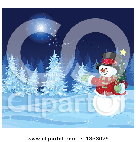 Clipart of a Christmas Snowman Holding a Small Tree and Presenting.