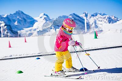 Child In Ski School Stock Photo.