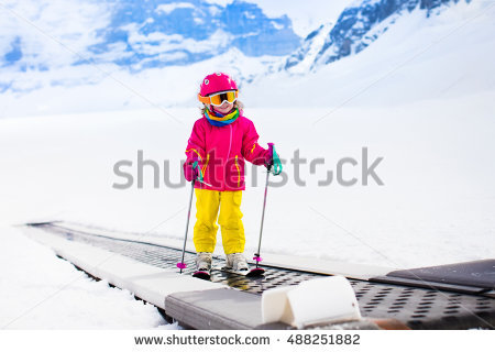 Girl Goes Skier Stock Photos, Royalty.