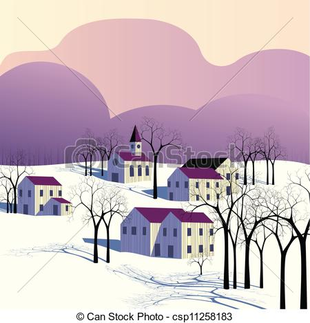Vector of Winter morning landscape.