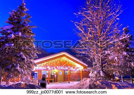 Stock Photography of Christmas Lights decorate the Eagle River.