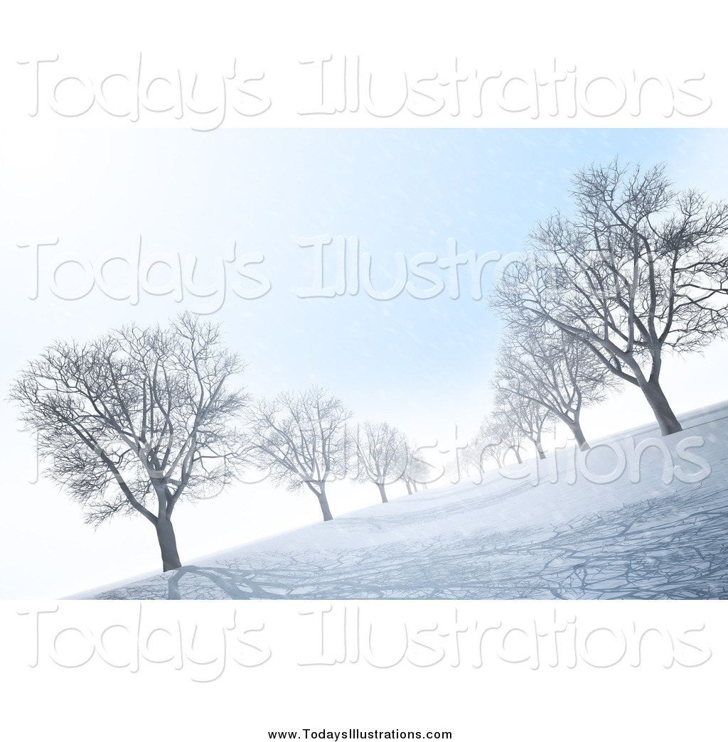 Clipart of a 3d Avenue of Bare Trees on a Winter Morning by Mopic.