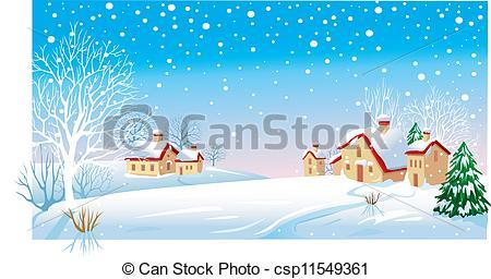 Clip Art Vector of Winter Morning csp11549361.