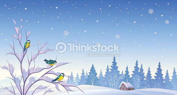 Winter Forest Background Vector Art.