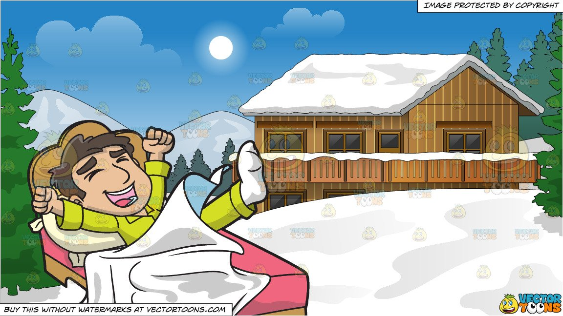 A Happy Man Waking Up In The Morning and Snow Covered Ski Chalet Background.