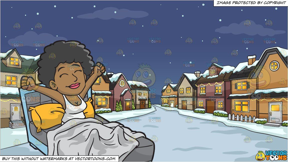 A Happy Black Woman Waking Up In The Morning and Snowy Christmas Night  Background.