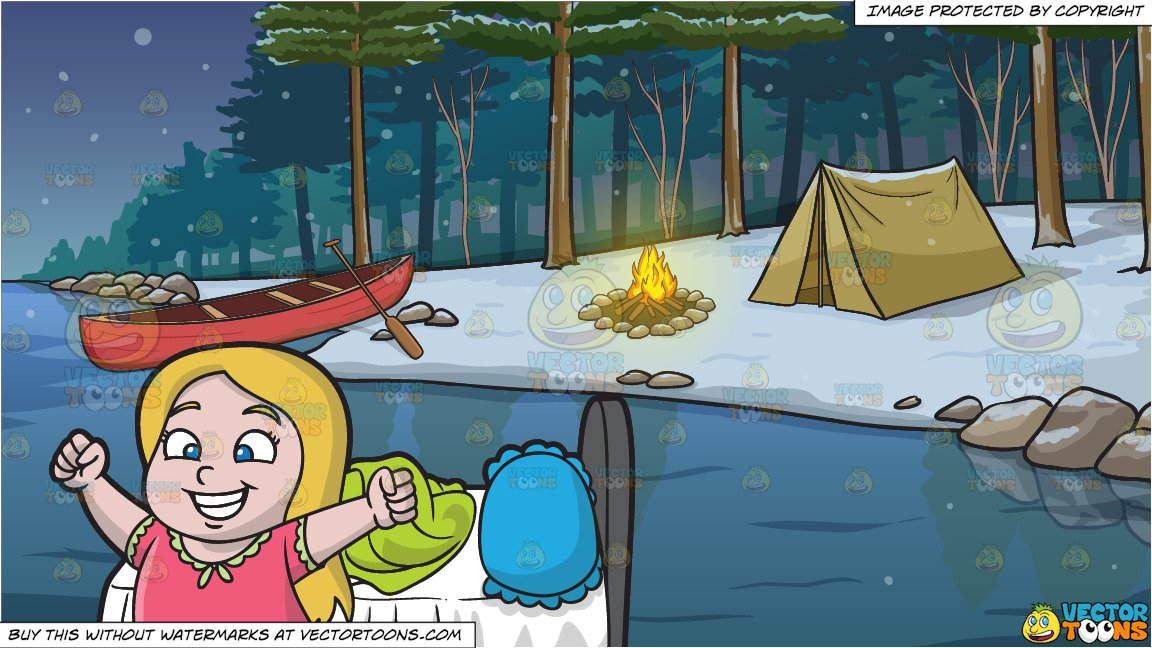 A Young And Happy Girl Waking Up In The Morning and Winter Camping Site  Background.