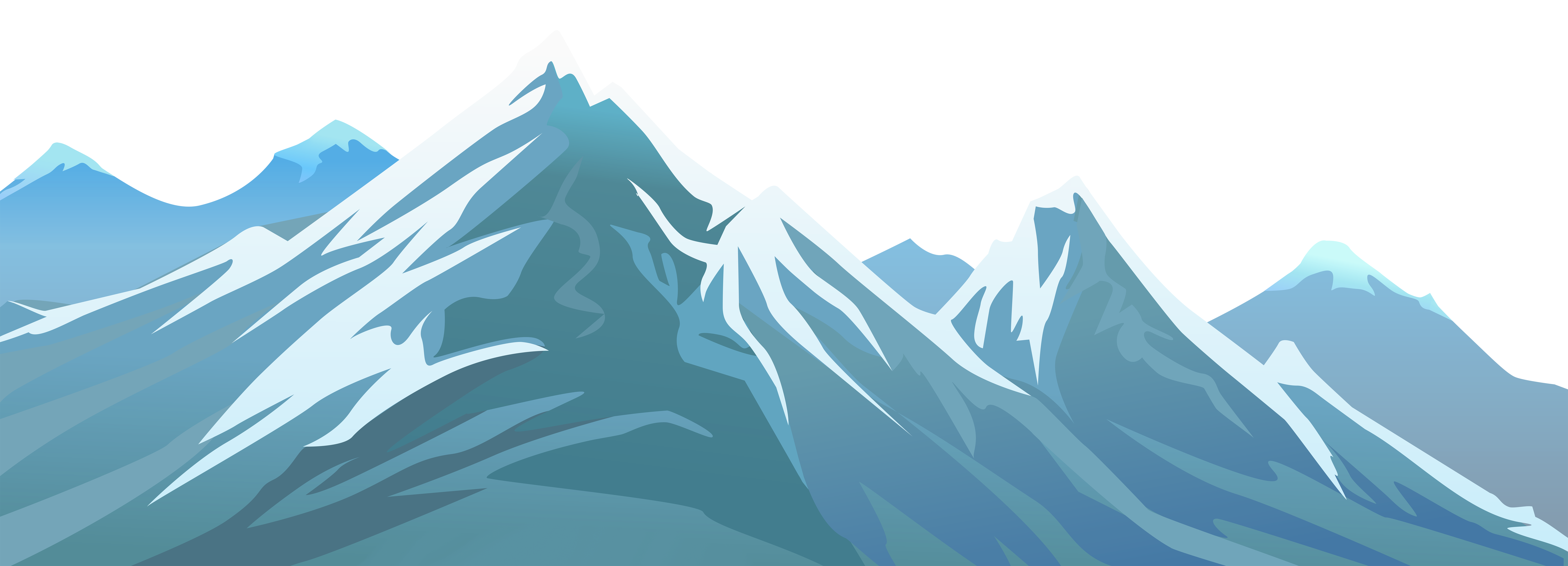 Snowy Mountain Transparent PNG Clip Art Image.