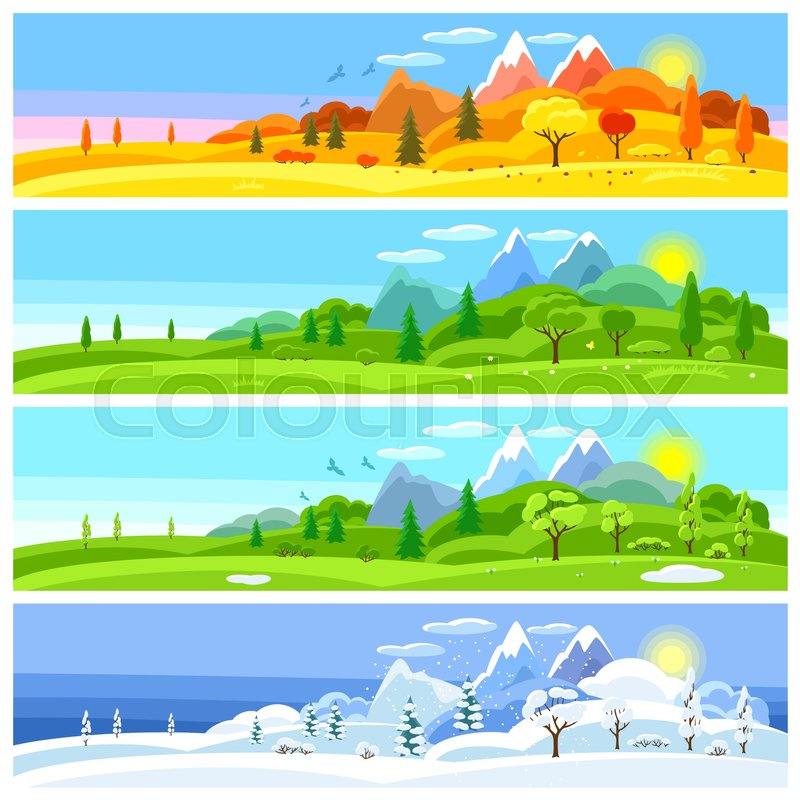 Four seasons landscape. Banners with.