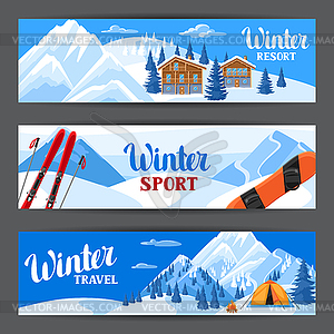 Winter ski resort banners. Beautiful landscape.