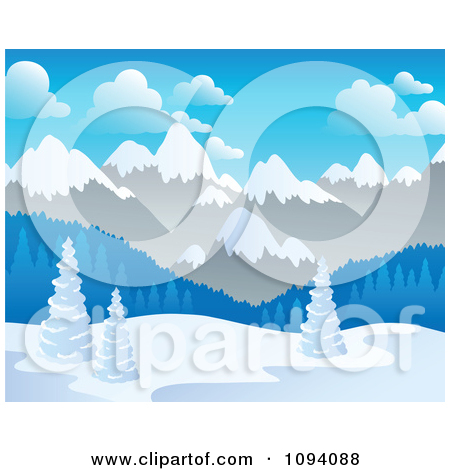 Clipart Winter Landscape Of Snow And Mountains.