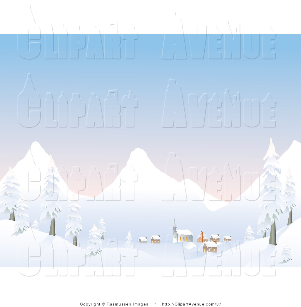 Avenue Clipart of a Small Mountain Village at the Base of.