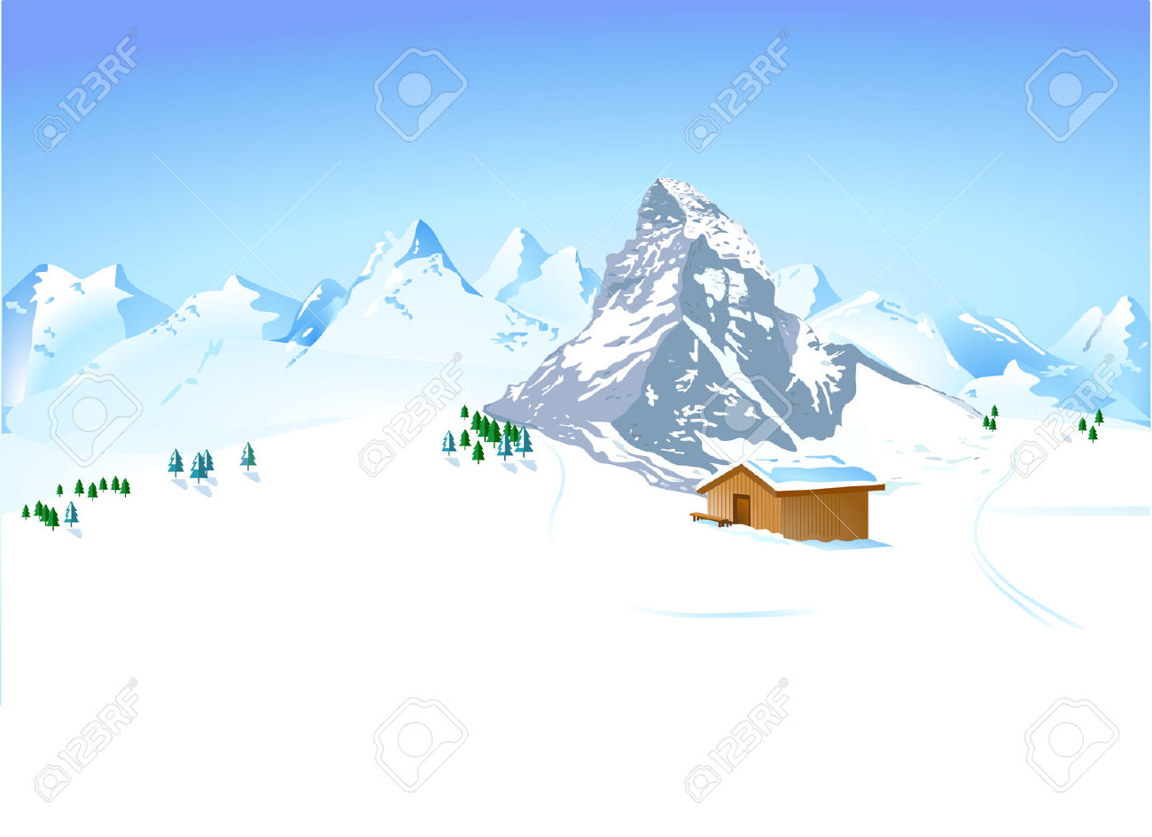 Winter Landscape With Mountain Shelter Royalty Free Cliparts.