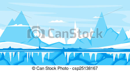 Stock Illustration of Winter Mountain Game Background.