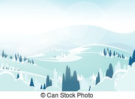 Vector Clip Art of Snowy Mountain Scene.
