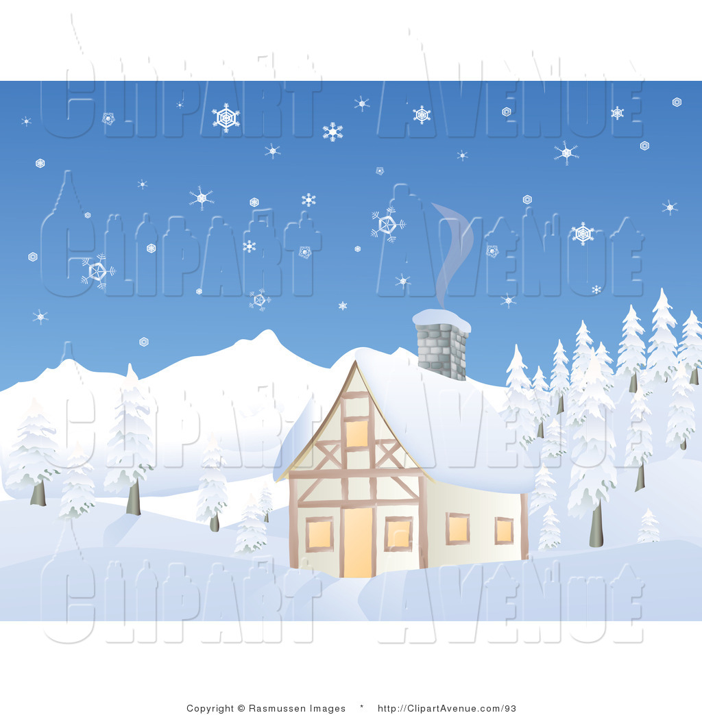 Winter Mountain Scene Clipart.