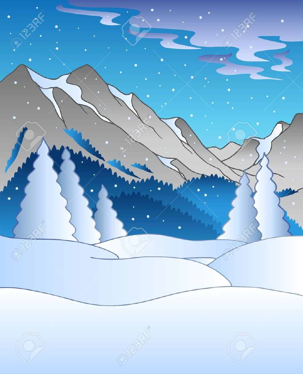 Snowy mountains clipart.