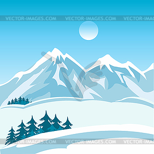 Winter Mountain Clip Art.