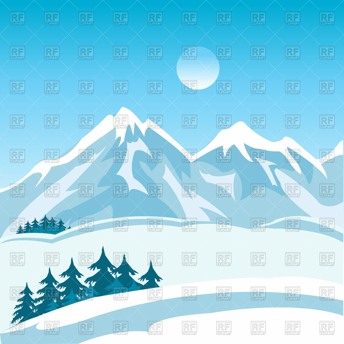 Winter mountain clipart.