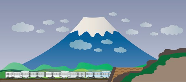 Diesel Railcar train and tunnel with Big Mountain background.