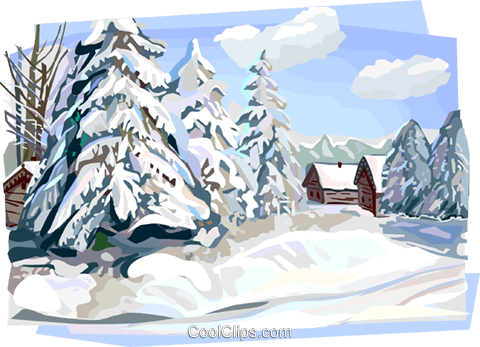 Russian winter nature scene Royalty Free Vector Clip Art.