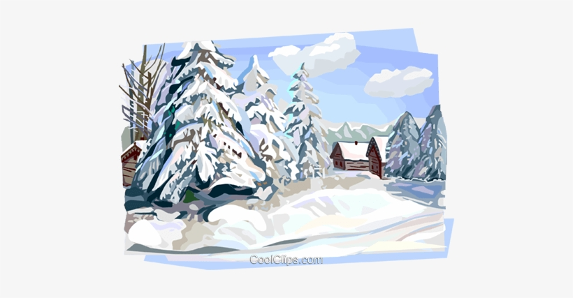 Russian Winter Nature Scene Royalty Free Vector Clip.