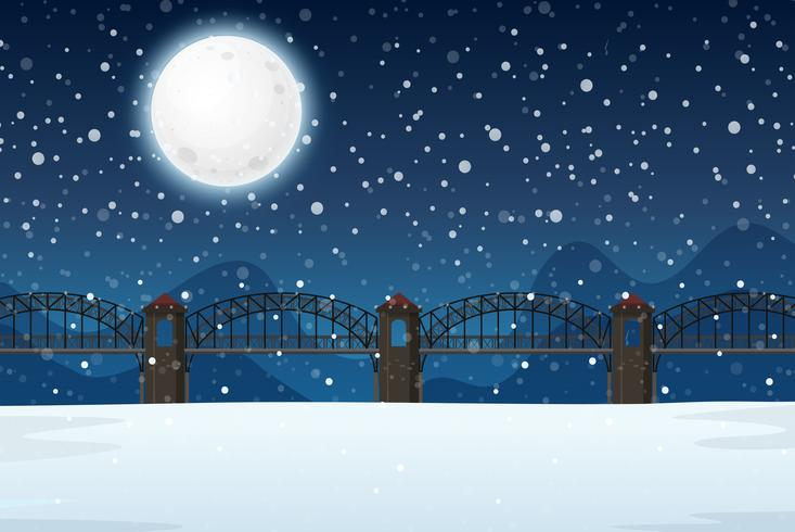 A winter night landscape.