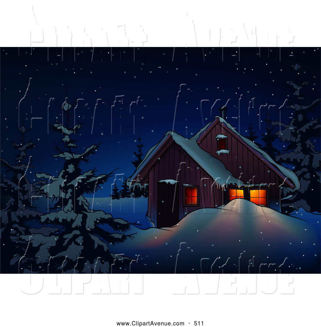 Avenue Clipart of a Festive Home on a Snowy Winter Night in.