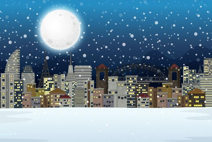 Winter night city landscape.