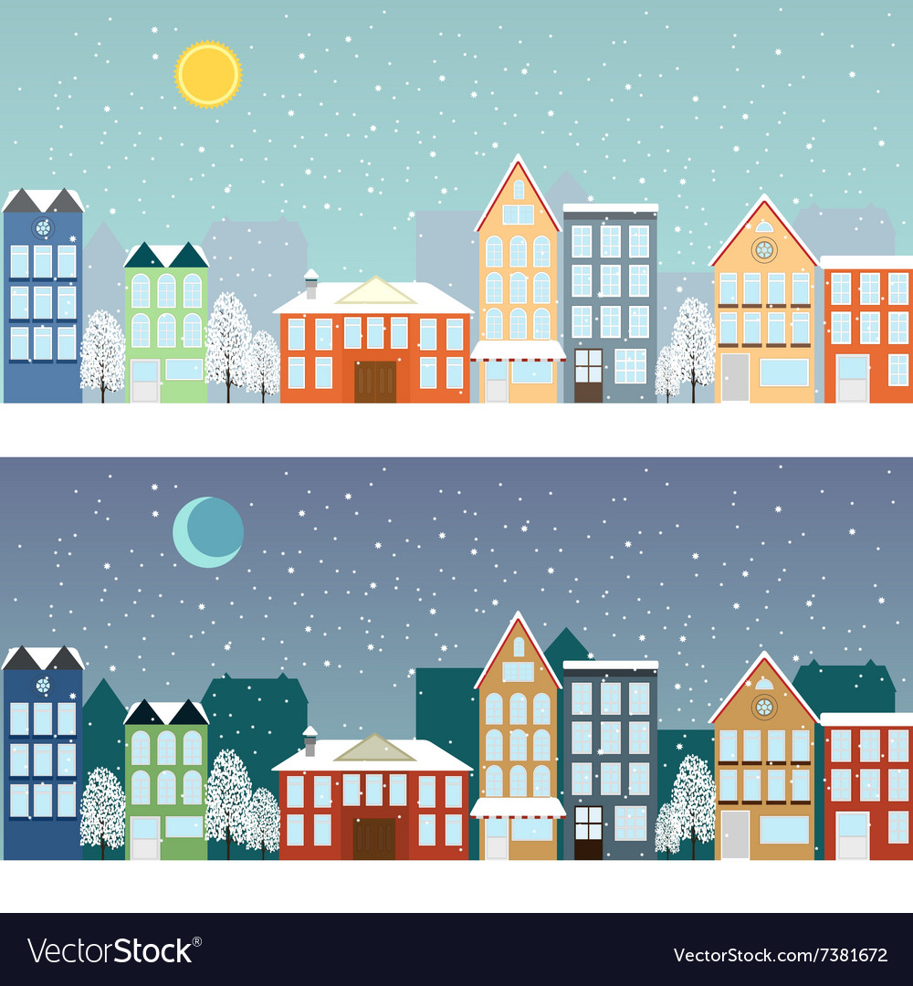 Winter sityscape at night and at day.