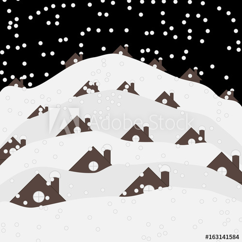 Roofs of houses under snow in winter. Graphic vector.