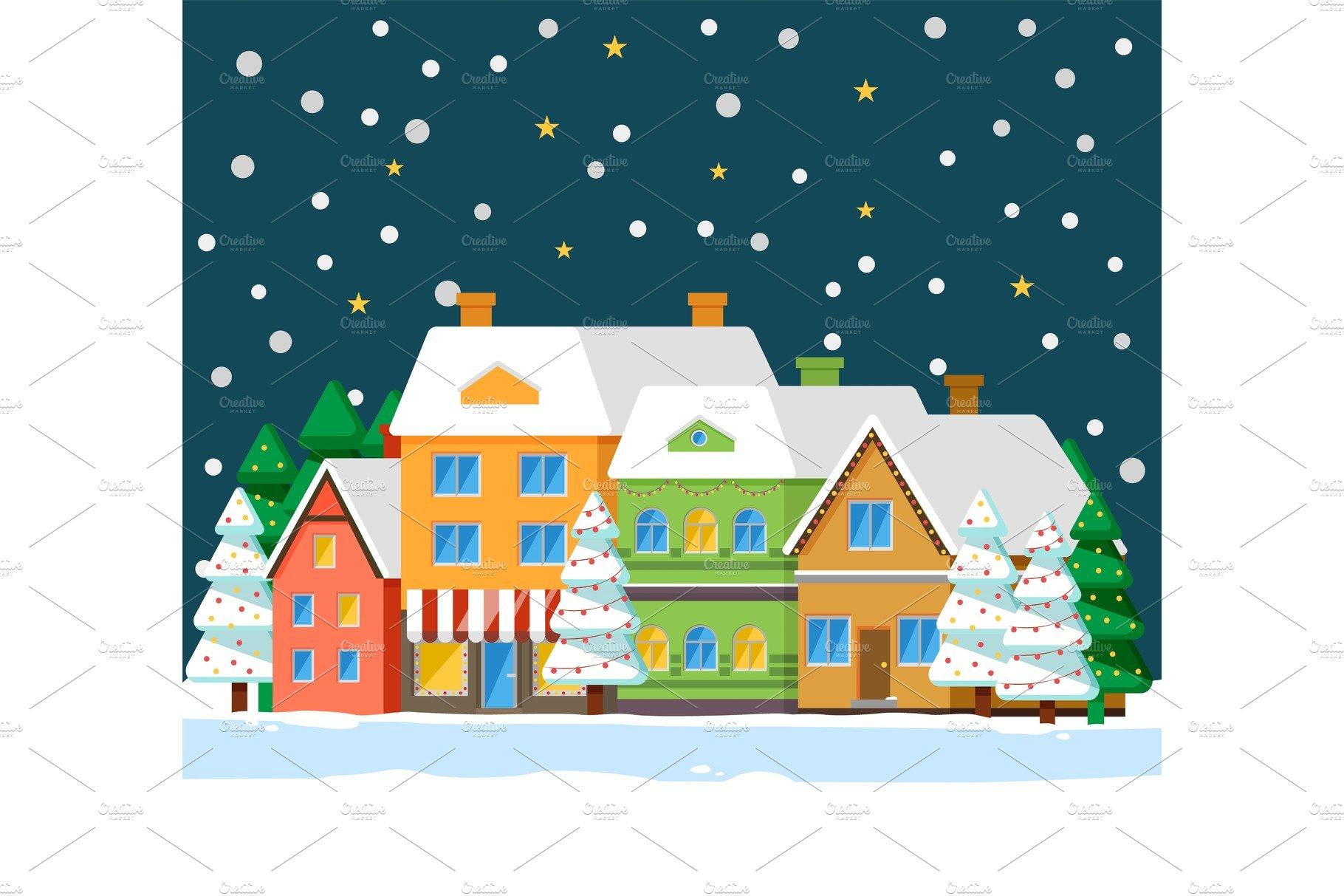 Winter City at Night, Snowfall and.