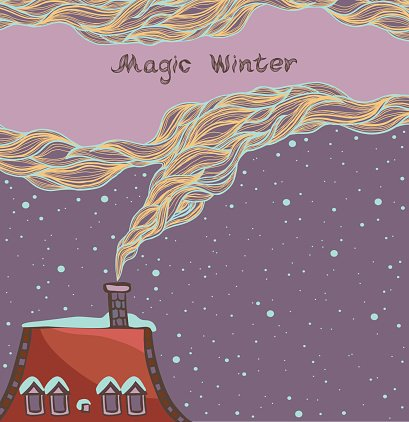 Winter illustration with roof, smoke and night sky. Clipart.