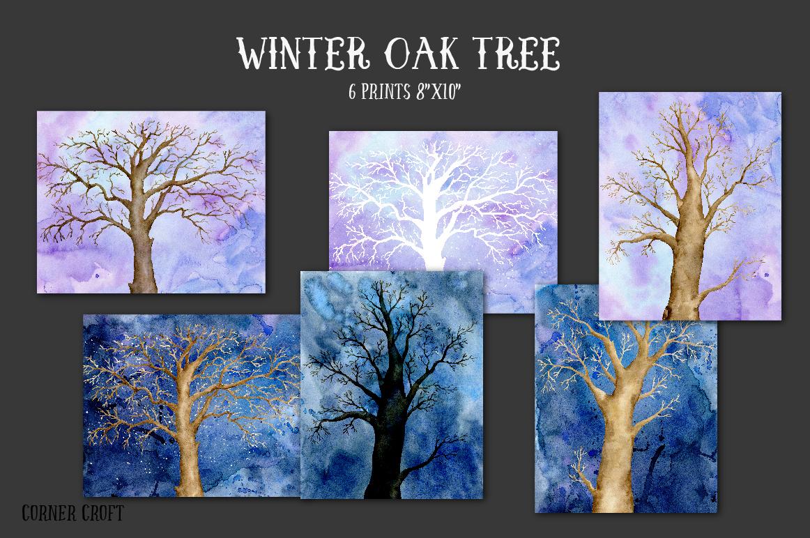 Watercolor Clipart Winter Oak Tree by Cornercroft.