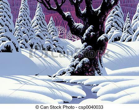 Drawings of Oak Tree in Winter.