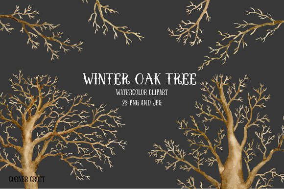 Watercolor Clipart Winter Oak Tree ~ Illustrations on Creative Market.