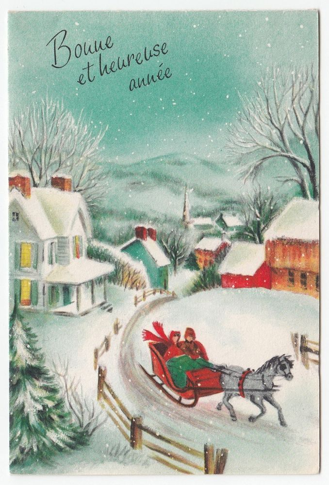 Vintage Greeting Card Christmas Winter Scene Old.