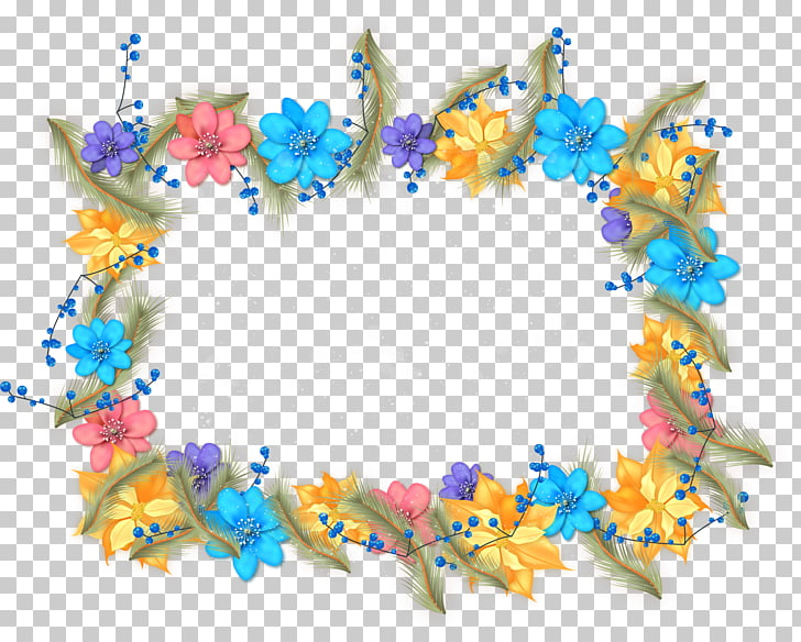 Beautiful winter flowers border PNG clipart.