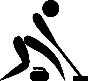 Olympic Sports Curling Black & White Pictogram Clip Art via.