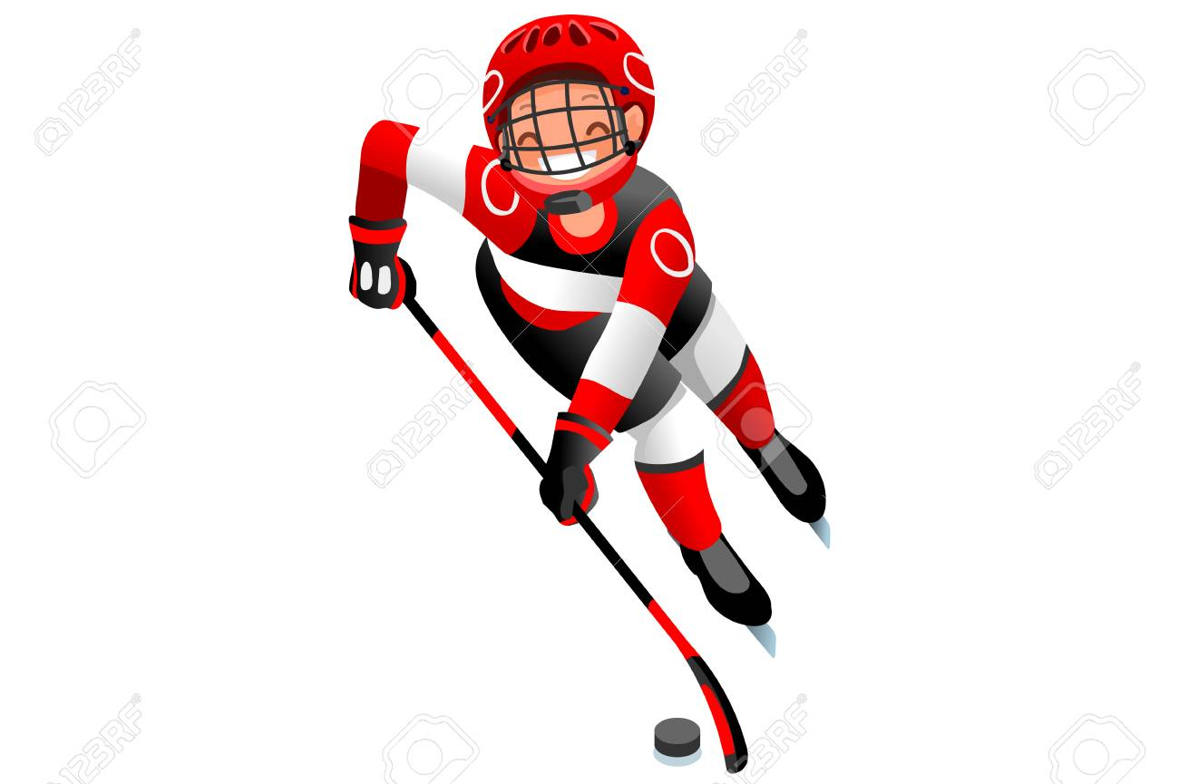 Ice hockey vector cartoon clipart. Winter sports background with...