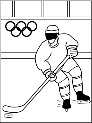 Clip Art: Winter Olympics: Ice Hockey B&W I abcteach.com.