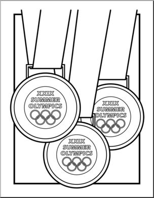 Black And White Olympic Medal Clipart.