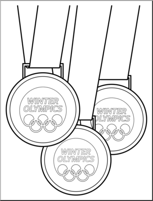 Clip Art: Winter Olympics Medals B&W I abcteach.com.