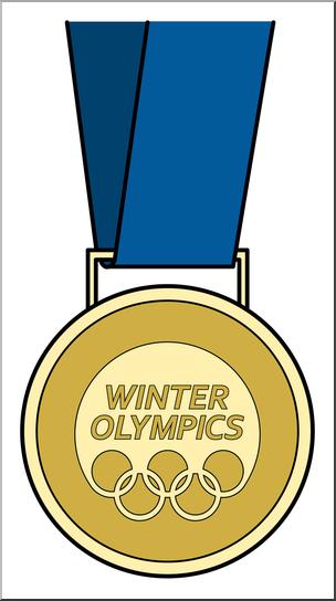 Clip Art: Winter Olympics Medal Gold B&W I abcteach.com.