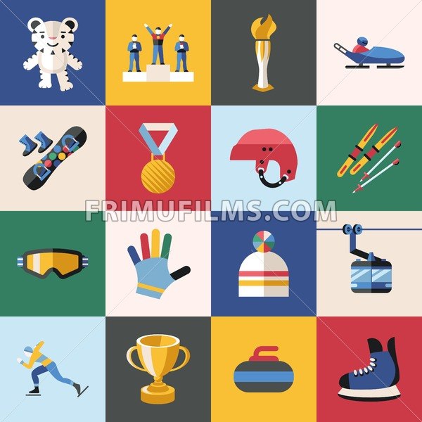 Digital vector winter games objects color simple flat icon with olympic  games 2018 mascot, isolated.