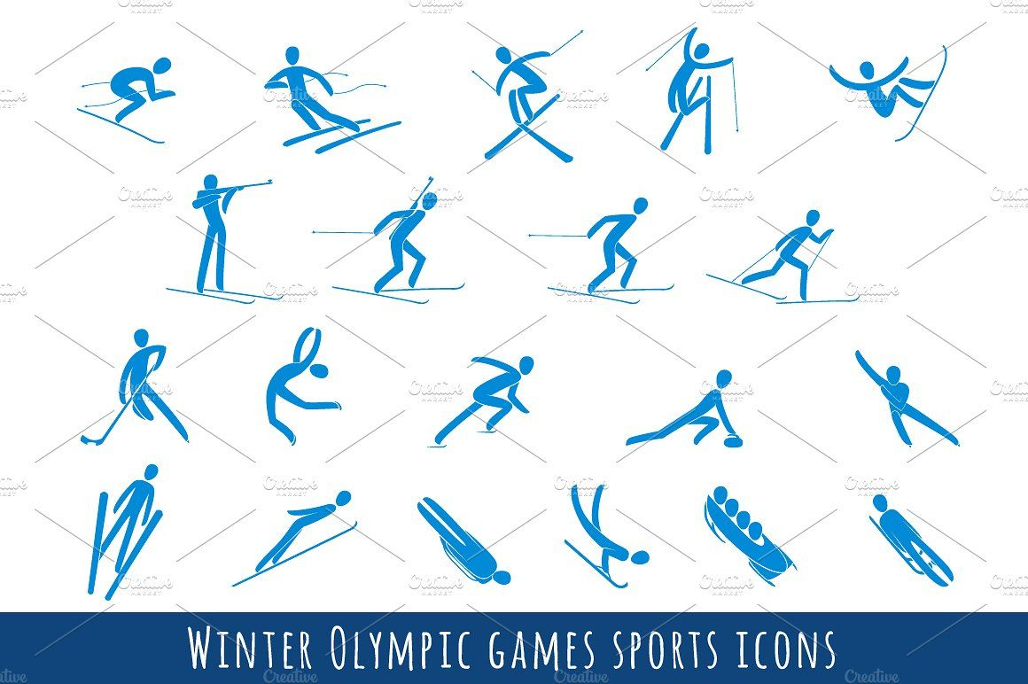 Winter Olympic Games Sport Icons Set #country#Cross#Curling.