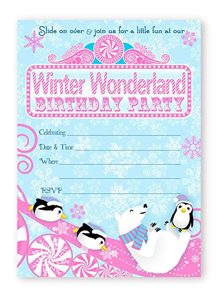 Winter Wonderland Invitations Pink 10 Invitations 10.