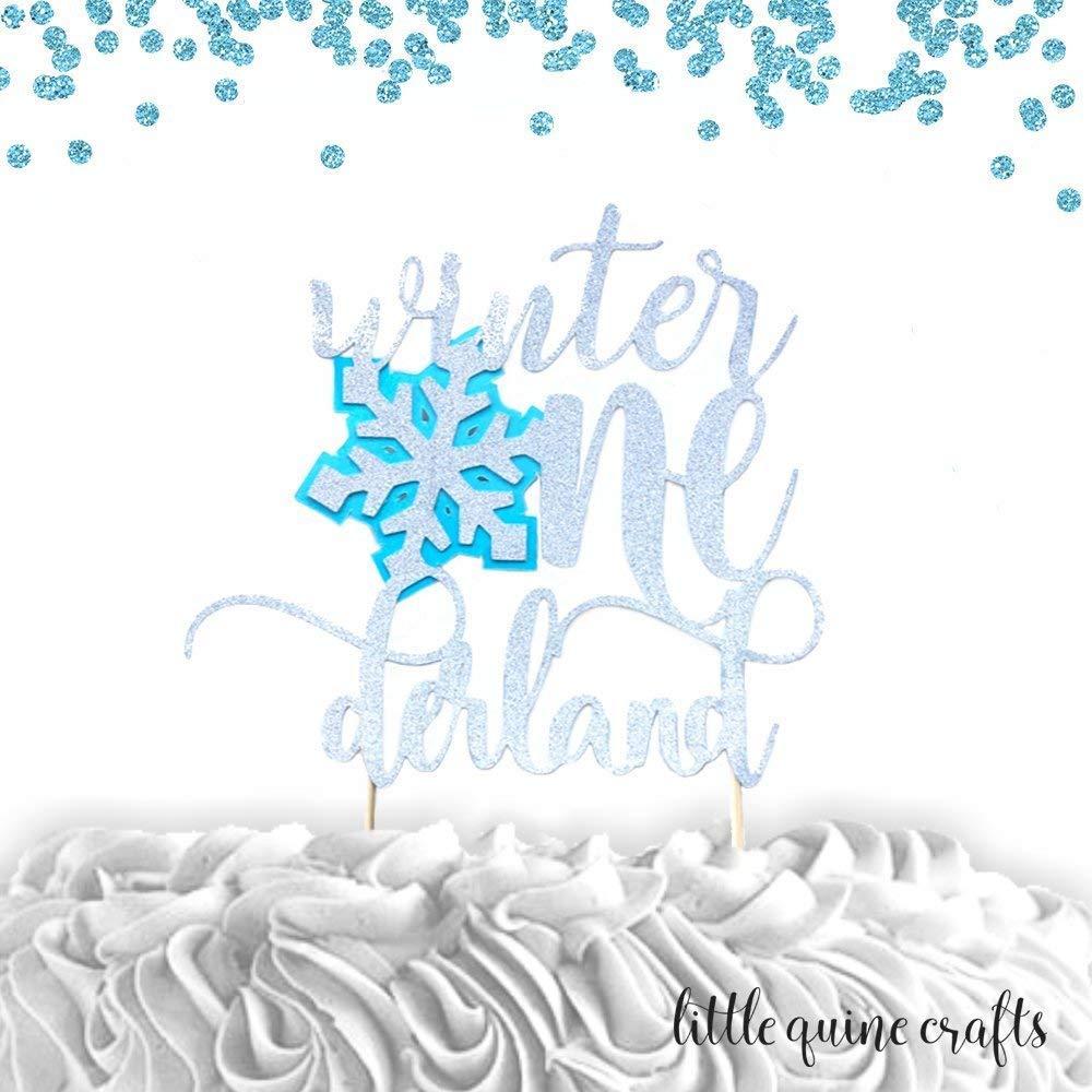 1 pc Winter Onederland Snowflake silver glitter baby blue.